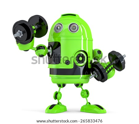 Extremely Powerfull Robot. Technology concept. Isolated. Contains clipping path. - stock photo
