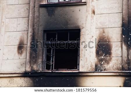 extremists burned barracks National Guard - stock photo
