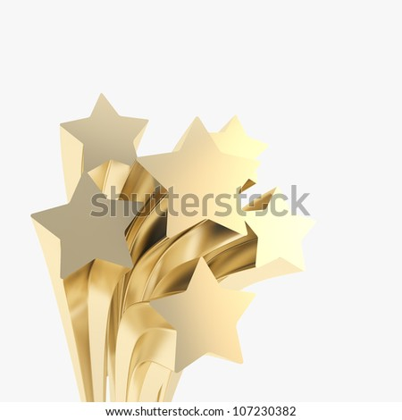 Extruded golden stars on as festive copyspace background - stock photo