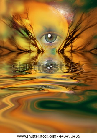 Eye and branches of tree 3D Render - stock photo