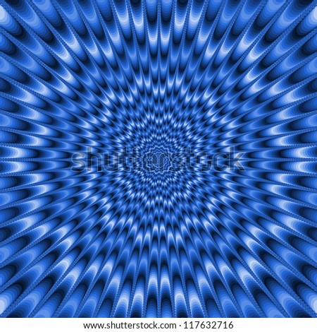 Eye Bender in Blue/Digital abstract image with a blue and white star shaped design. - stock photo