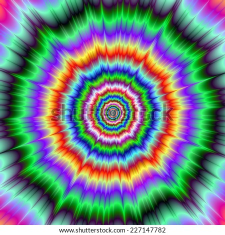 Eye Boggling Explosion / An abstract fractal image with an eye boggling explosive design in green purple yellow and red. - stock photo