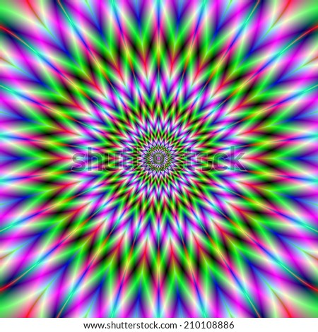 Eye Boggling Star / A digital abstract fractal image with an optically challenging star design in pink green blue and red. - stock photo