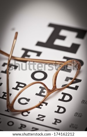 Eye Chart and Glasses - stock photo