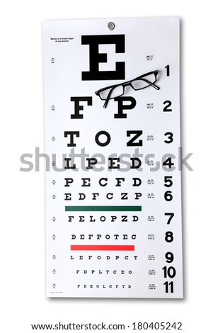 Eye chart and glasses cutout on white background - stock photo