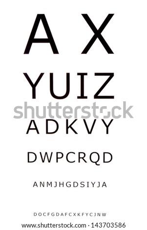 Eye Chart for optometrist - stock photo
