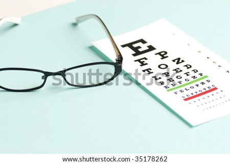 eye exam chart and glass - stock photo