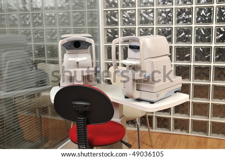 Eye examination equipments at optician - a series of eye exam related pictures. - stock photo