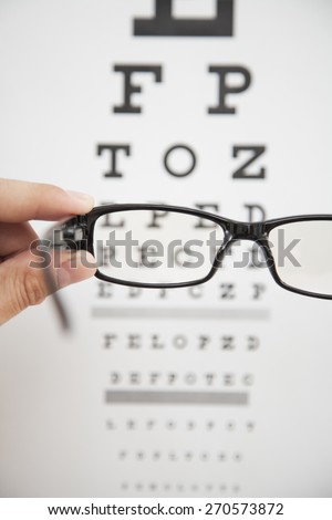 Eye exams, glasses, in front of chart with letters - stock photo