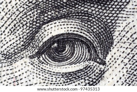 Eye. Fragment of $100 banknote. - stock photo
