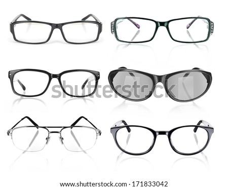 Eye Glasses collection on White Background - stock photo