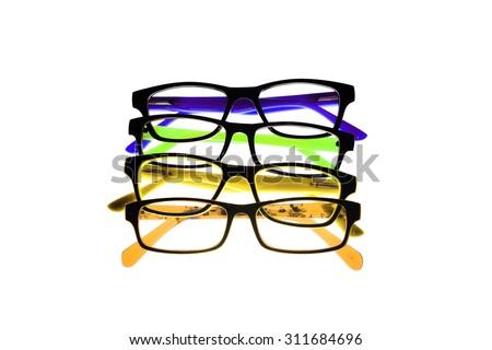 Eye glasses frames on white background. - stock photo