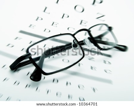 Eye glasses on an optometrist chart - stock photo
