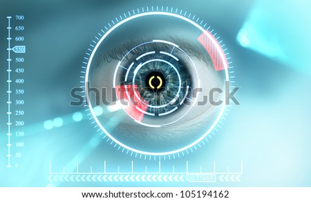 eye is being scanned - stock photo