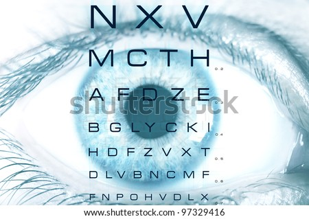 Eye macro with test vision chart - stock photo
