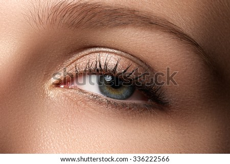 Eye makeup. Beautiful eyes make-up. Holiday makeup detail. Long eyelashes. Close-up shot of female eye make-up in smoky eyes style - stock photo
