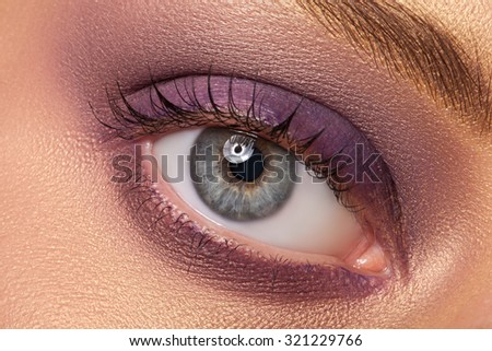 Eye makeup closeup. Very beautiful eyes. To advertise cosmetics for the eyes.