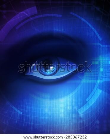 Eye of human and electronics - stock photo
