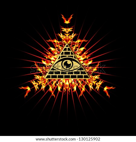 Eye Of Providence Fire - All Seeing Eye Of God - Symbol Omniscience - stock photo