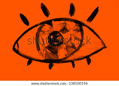 Eye or Watch icon, Creative background, Logo, Watch icon, Video icon - stock photo