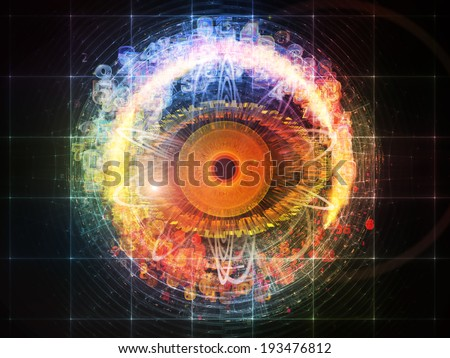 Eye Particle series. Abstract design made of eye shape and fractal elements on the subject of spirituality, art and  technology - stock photo