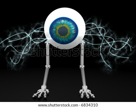 Eye robot with electric wires with clipping path - stock photo