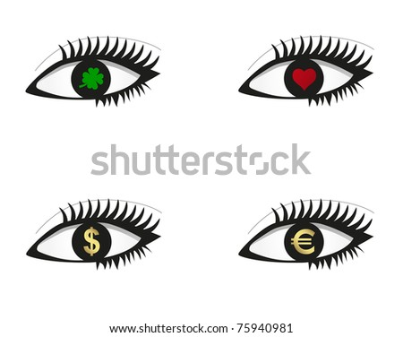 Eye set with money, love and luck icons. raster version - stock photo