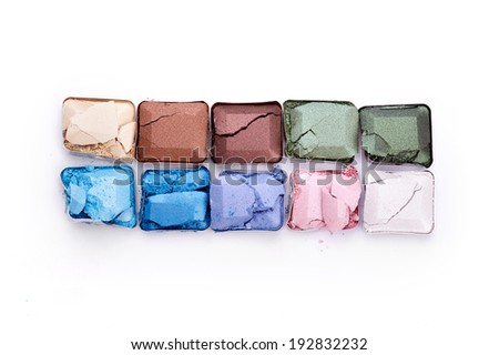 Eye shadow over white background - stock photo