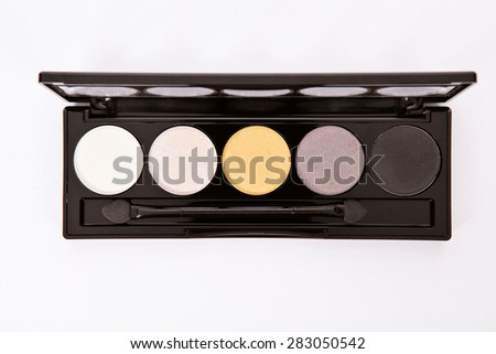 Eye shadow palette isolated on white background - stock photo