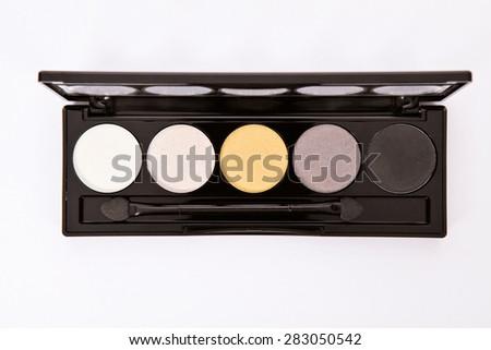 Eye shadow palette isolated on white background - stock photo