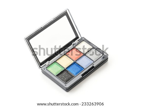 eye shadow plate on white background