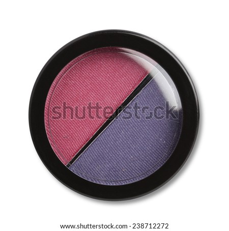 Eye shadows and blush. Plastic case. Isolated