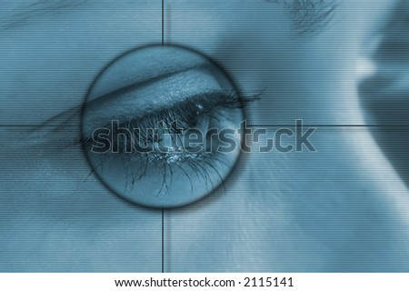 Eye tech background - stock photo