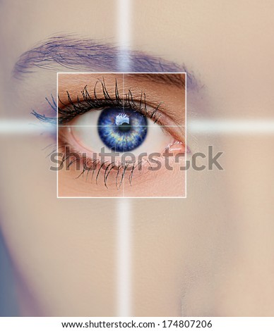 Eye technology, medicine and vision concept. Focus on blue woman eye. Closeup - stock photo