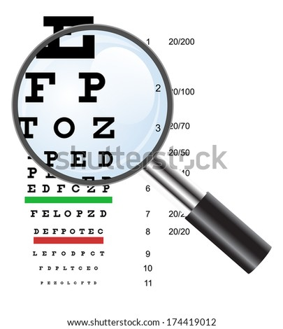 Eye  test chart  use by doctors and lope.  illustration.