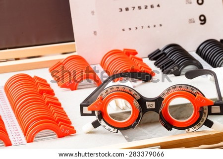Eye test equipment for checking eye. Eye glasses. - stock photo