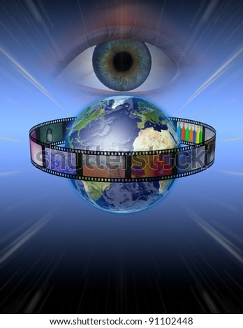 Eye watches earth film - stock photo
