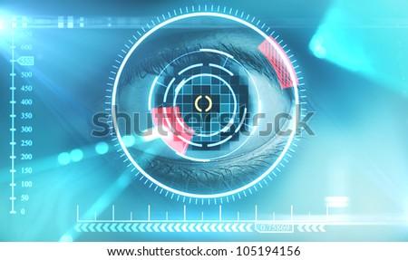 eye with digital interface - stock photo