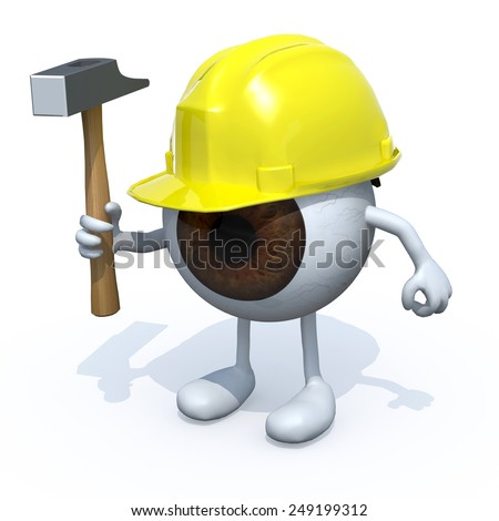 eyeball with arms, legs, yellow helmet and hammer on hand, 3d illustration - stock photo