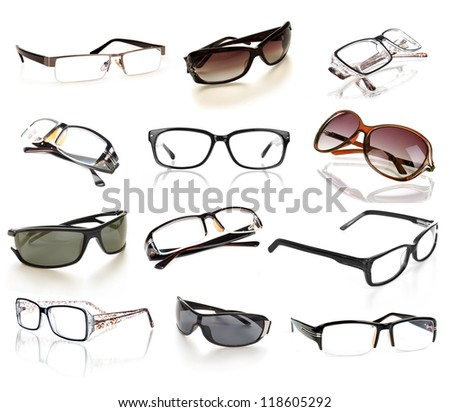 eyeglasses collection isolated on the white backogrund - stock photo
