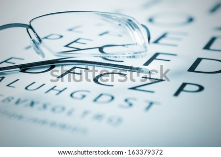 Eyeglasses on a sight test chart - stock photo