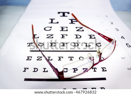 Eyeglasses on paper for eyesight test