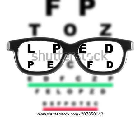 Eyeglasses with eye chart - stock photo