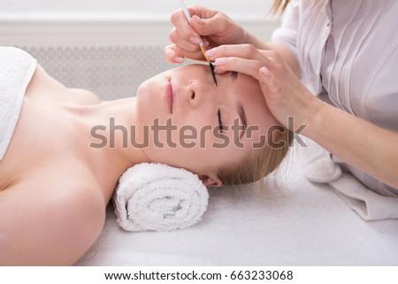Eyelashes Tinting Coloring Spa Beauty Treatment Stock Photo ...