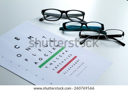 Eyes Examination, glasses diopter check up  - stock photo
