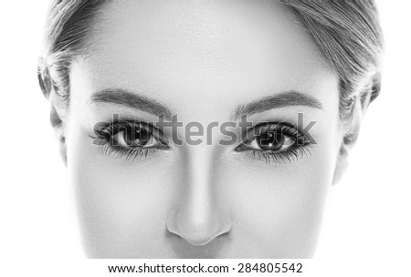 Eyes nose woman portrait black and white - stock photo