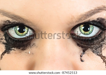 Eyes of a young girl with - stock photo