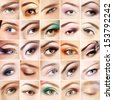 Eyes set. Collage of beautiful female eyes with makeup. Isolated over white background  - stock photo