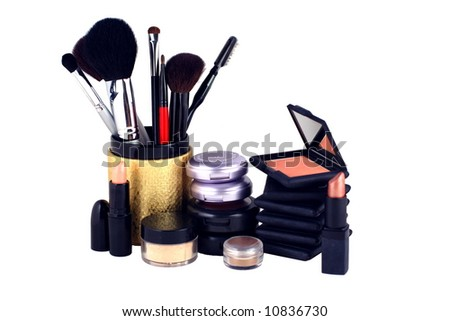 eyeshadow and blush makeup display on a white background - stock photo