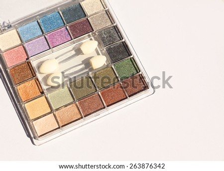 Eyeshadow in various colors, modern makeup.